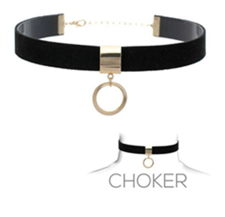Suede Choker with Gold Ring