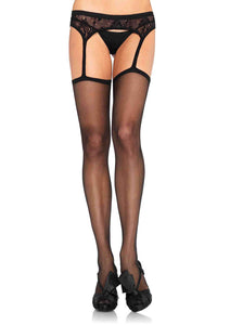 Sheer Stockings with Attached Lace Garter Belt