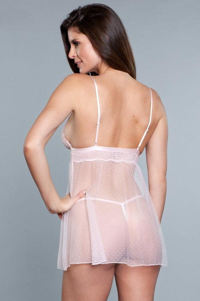 Sheer Dotted Babydoll- Light Pink