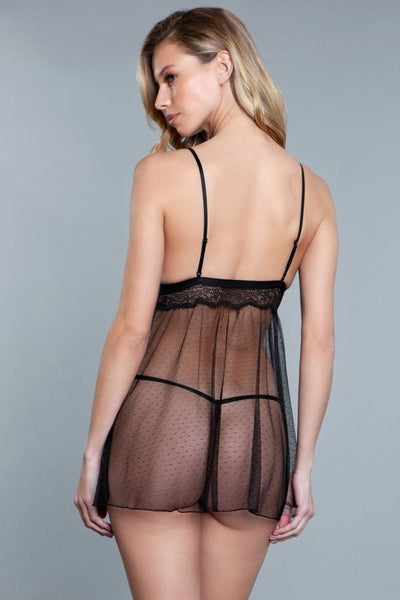 Sheer Dotted Babydoll- Black