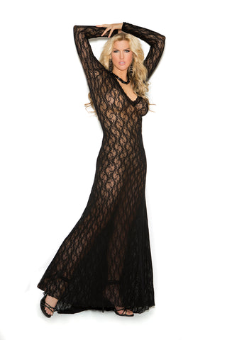 Long Sleeve Lace Gown- Black