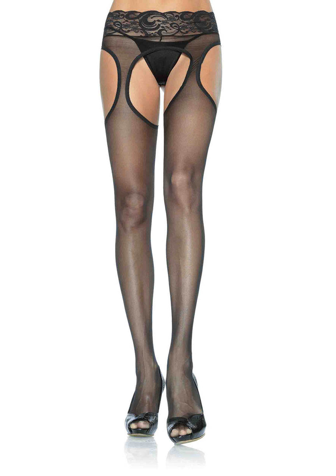 Sheer Suspender Hose with Lace Waist