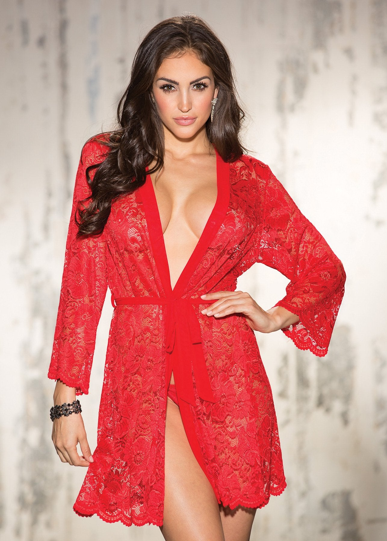 Lace Robe- Red