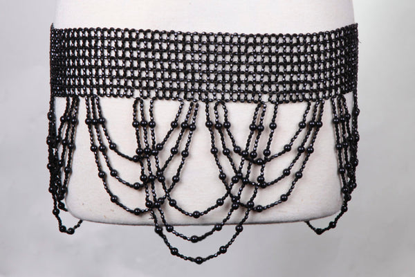 Beaded Stretchy Belt with Swag
