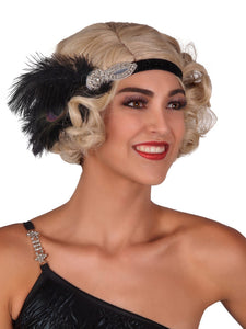 Flapper Headband with Silver Pendant