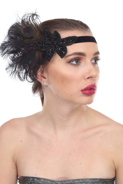 Flapper Headband with Peacock Feather