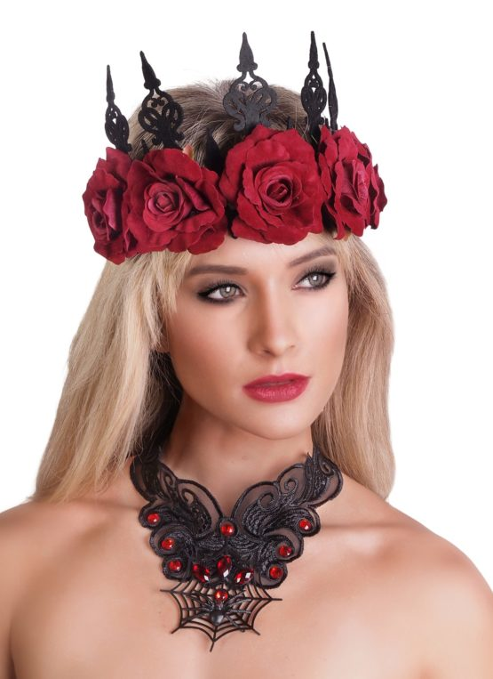 Gothic Floral Headband Red