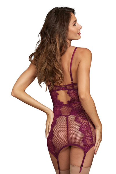 Fishnet/Lace GarterSlip- Mulberry