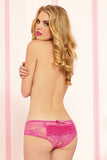 Lace Crotchless Boyshort- Pink
