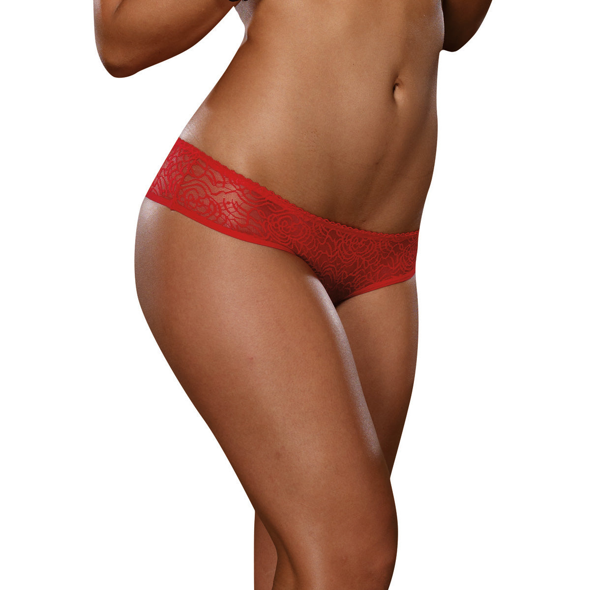 Ruffle Crotchless Panty- Red