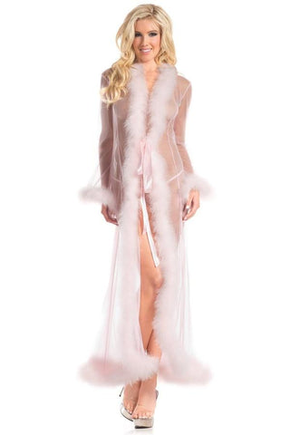 Full Length Sheer Robe- Light Pink