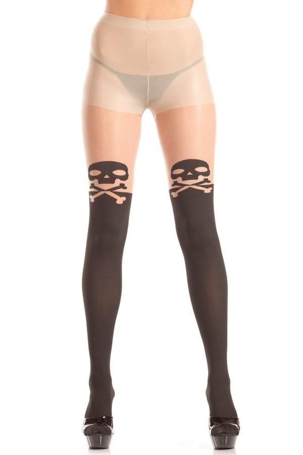 Sheer Pantyhose with Skull and Crossbow Detail