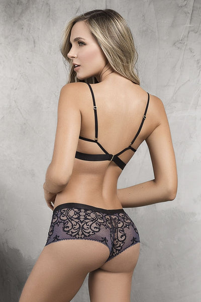 Cheeky Panty with Matching Bra Top- Blue/Black