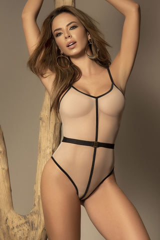 Sheer Teddy- Nude/Black
