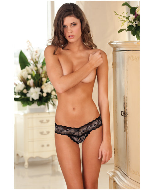 Crotchless Lace V-Thong- Black/Grey