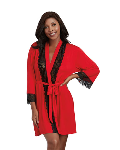 Red Robe with Black Lace