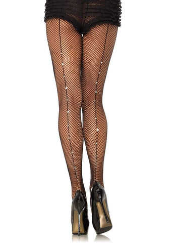 Fishnet Tights with Rhinestone Backseam