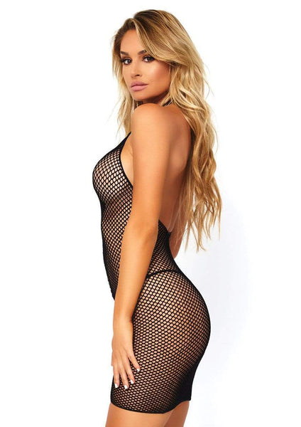 Fishnet Zip Up Halter Mini Dress