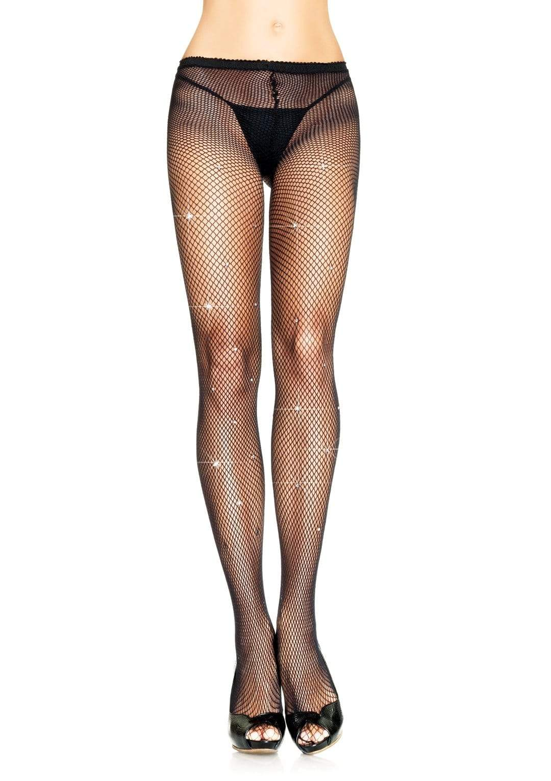 Fishnet Tights with Rhinestone Detail
