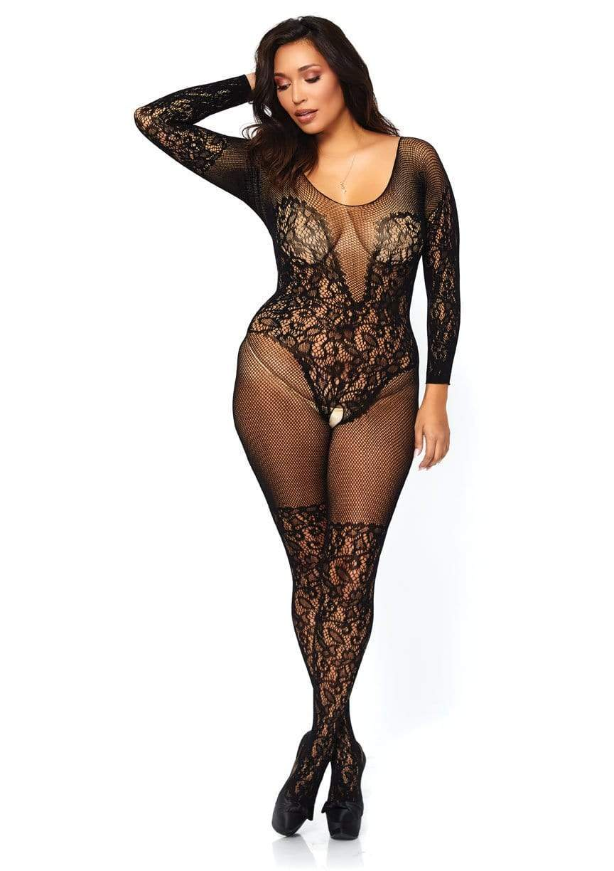 Vine Lace & Net Long Sleeve Bodystocking- Queen Size
