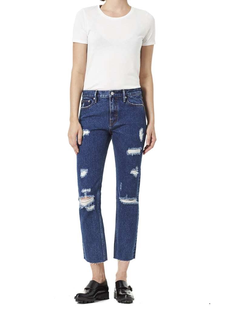 Victoria Cropped Jean Mid Blue full view