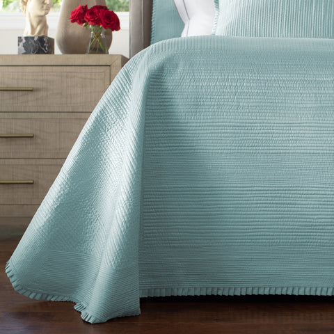 BATTERSEA QUEEN BEDSPREAD / SEA FOAM S&S 106X106