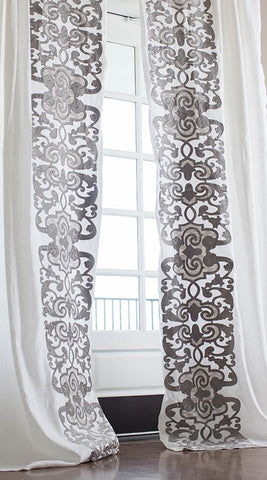 MOZART DRAPERY PANEL / WHITE LINEN / SILVER VELVET / LEFT & RIGHT / SET OF 2 / 52X120