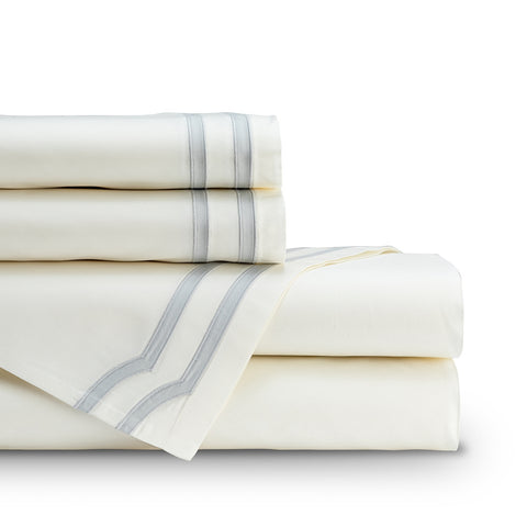 SOHO  QUEEN 300TC SHEET SET IVORY / GRAY Q SET