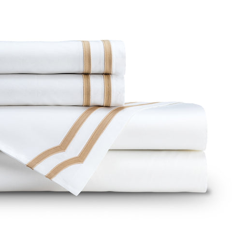SOHO  QUEEN 300TC SHEET SET WHITE / STRAW Q SET