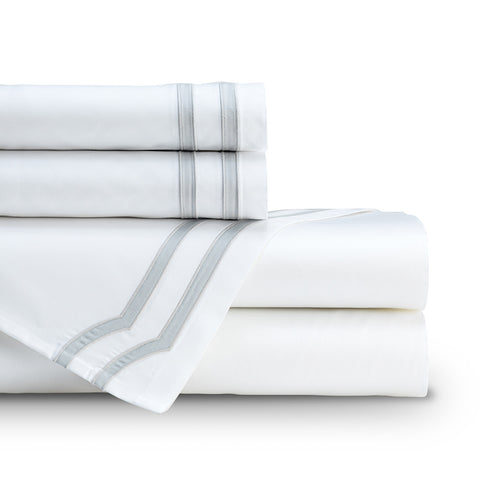 SOHO  QUEEN 300TC SHEET SET WHITE / GRAY Q SET