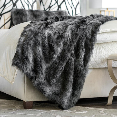 BLACK FUR THROW 42X98