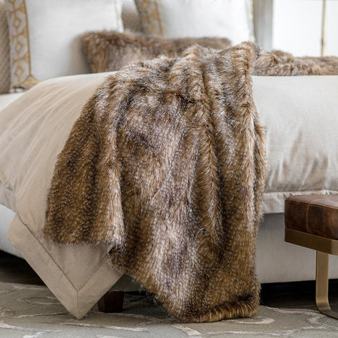 CHESTNUT FUR THROW 42X98