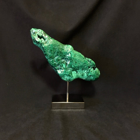 Malachite on Polished Nickel Base