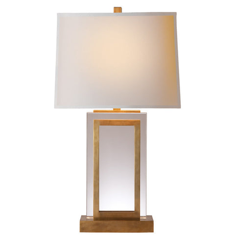 Crystal Panel Table Lamp in Antique-Burnished Brass with Natural Paper Shade