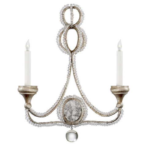 Milan Double Sconce in Venetian Silver with Crystal