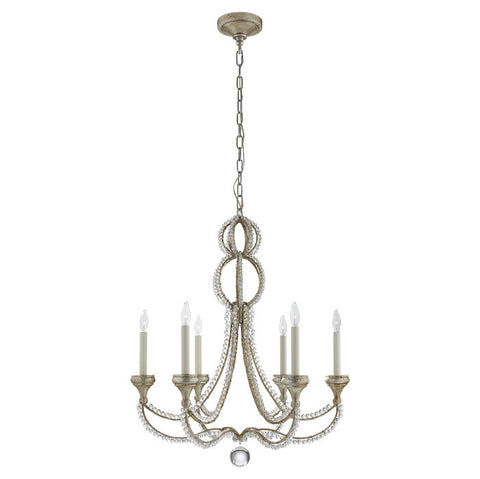Milan Medium Chandelier in Venetian Silver with Crystal