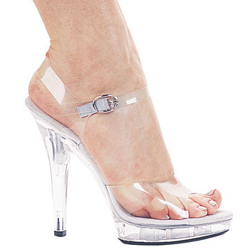 Ellie M-Brook 5 inch clear heels with heel strap