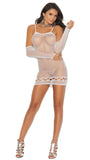 12002 crochet mini dress with matching gloves by Elegant Moments
