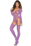 1542 sheer long sleeve teddy matching stockings by Elegant Moments