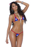 82052 Elegant Moments red white blue USA star g-string bikini