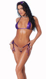82137 Lame` bikini top and matching g-string with rhinestone jewel accent by Elegant Moments