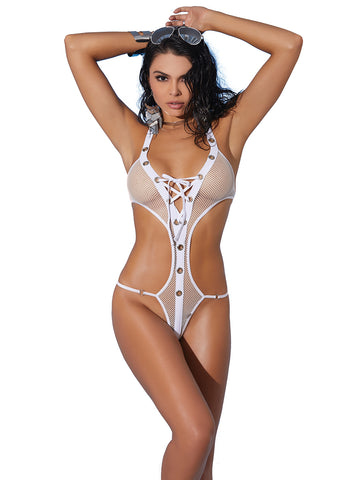 82178 fishnet lace up halter neck monokini by Elegant Moments