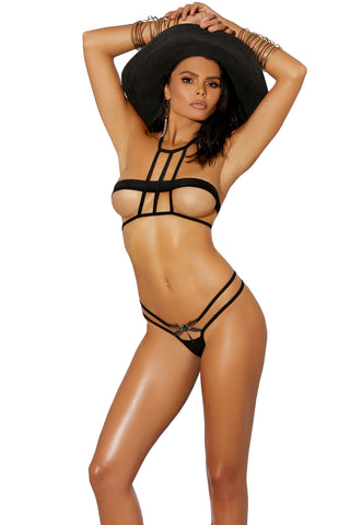 82223 2pc caged top and matching g-string with dragonfly jewel accent, by Elegant Moments