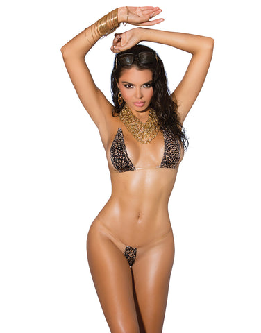 8952 leopard top & g-string with invisible straps