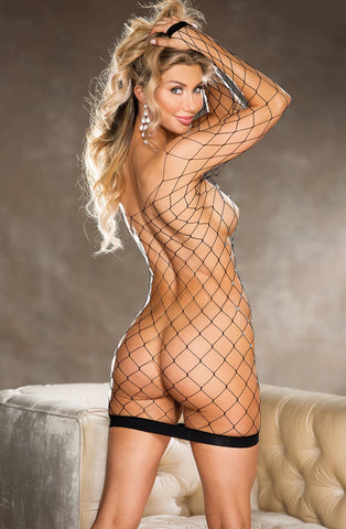 90429 fishnet rhinestone chemise by Hot Lingerie