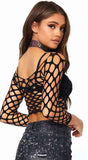81567 pothole net long sleeve crop top by Leg Avenue