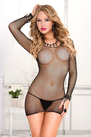 6579 mini diamond net long sleeve dress by Music Legs
