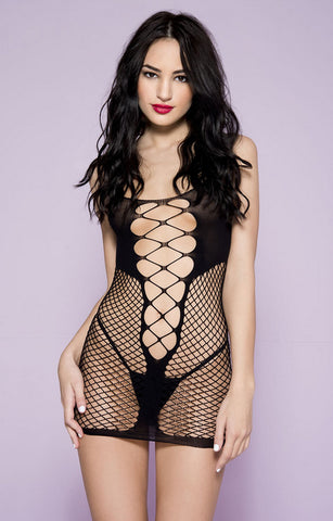 6632 criss cross fishnet mini by Music Legs