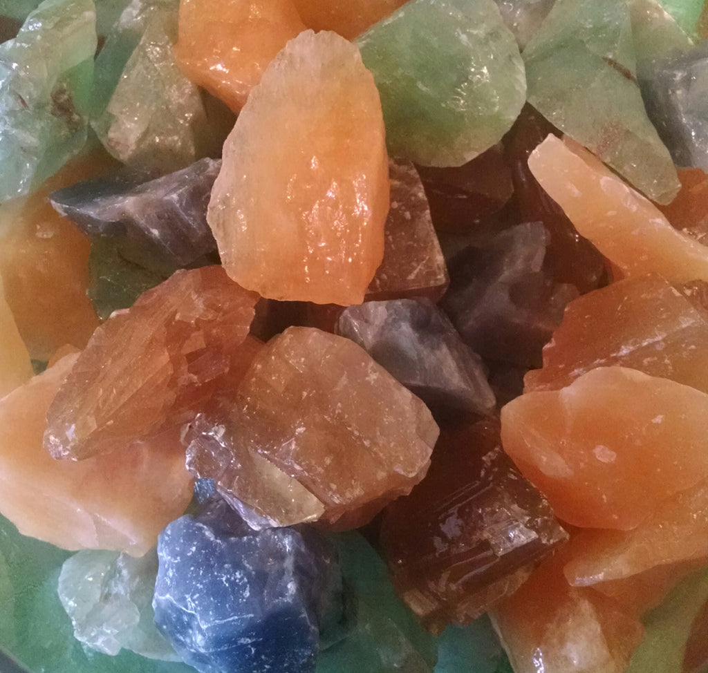 Rough Assorted Calcite, Green, Yellow, Honey, Red, Blue (Per Each)