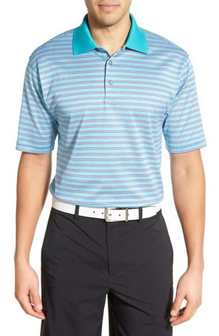 'Grid Stripe Jac' Mercerized Cotton Polo